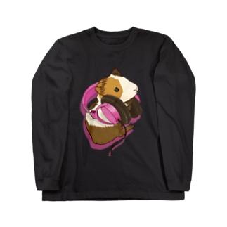 ヘッドフォンモルモット ピンク ロングスリーブTシャツ
