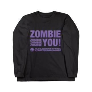 Zombie You!(purple print) ロングスリーブTシャツ