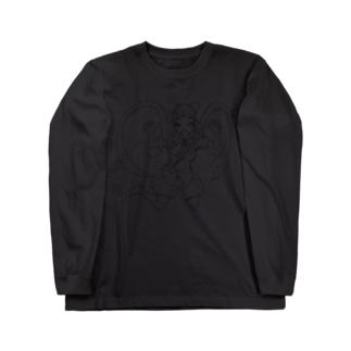 黒いマントの女の子【線画】 ロングスリーブTシャツ