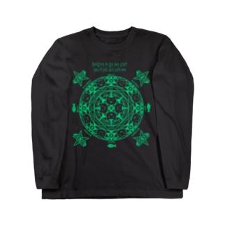 猫召喚魔法陣(緑線) ロングスリーブTシャツ