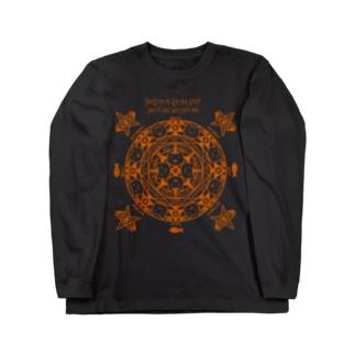 猫召喚魔法陣(オレンジ線) ロングスリーブTシャツ