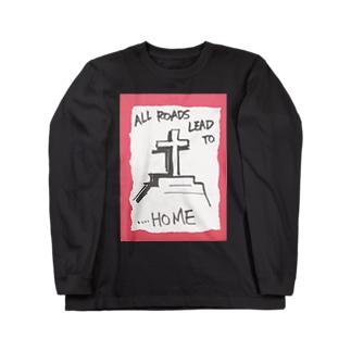 偽諺~弐~「全ての道はホームに通ず」(赤縁) ロングスリーブTシャツ