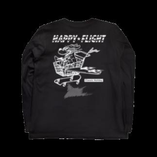 nidan-illustrationのhappy dog #2 -happy flight- (white ink) Long sleeve T-shirtsの裏面