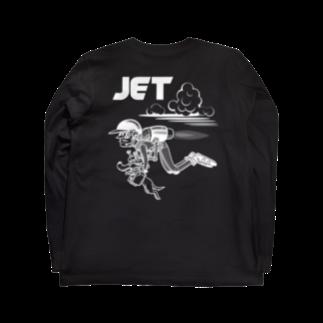 nidan-illustrationのhappy dog #4 -JET- (white ink) Long sleeve T-shirtsの裏面