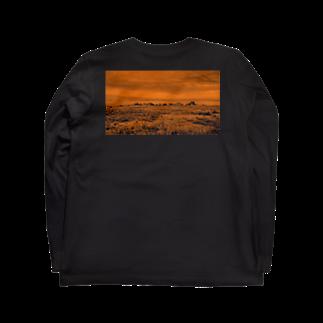FahrenheitのRock on the back orange Long sleeve T-shirts
