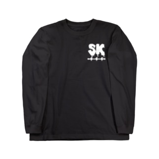 SK Strikethrough(666) Clothing - First Line Black Long sleeve T-shirts