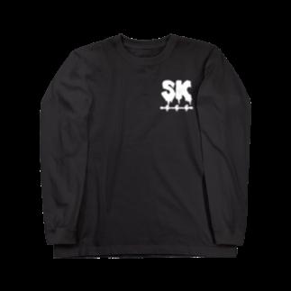 SK Strikethrough(666)のSK Strikethrough(666) Clothing - First Line Black Long sleeve T-shirts