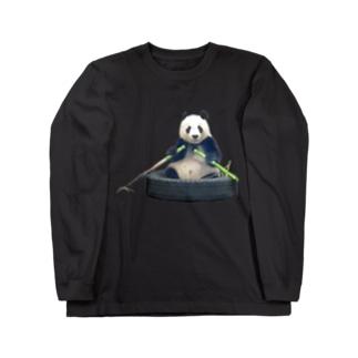 タイヤのお船をタケノコのオールで漕ぐパンダ Long sleeve T-shirts