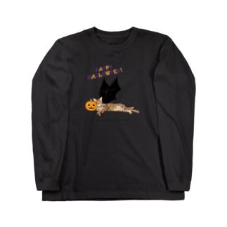 ハロウィン猫たまき Long sleeve T-shirts