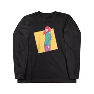 ふり向き女子 Long sleeve T-shirts