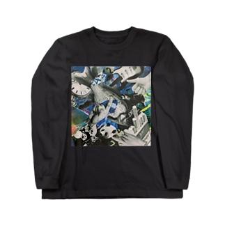 青いにぎやか Long sleeve T-shirts