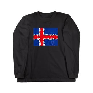 mijokulのISL アイスランド国旗デザイン Long sleeve T-shirts