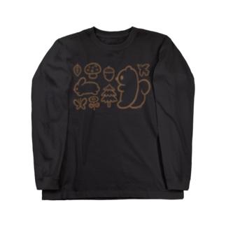森のリス Long sleeve T-shirts