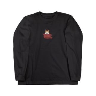 ともだちのcatさんと茶器 Long sleeve T-shirts