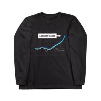 急成長グラフ(BLUE) Long sleeve T-shirts