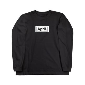 April.BOX LOGO(ホワイト×ブラック) Long sleeve T-shirts