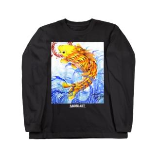 鯉図 黒地用 Long sleeve T-shirts