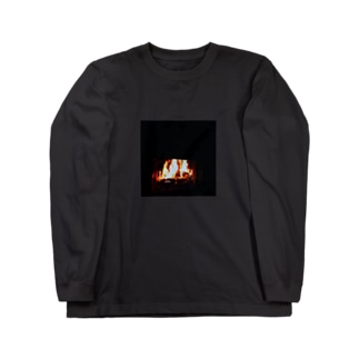 デジタル焚火 Long sleeve T-shirts