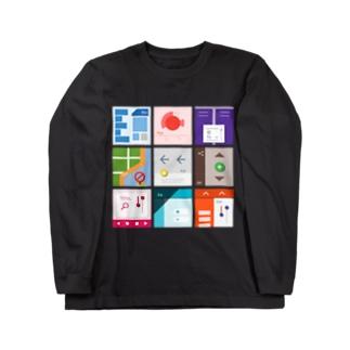 九字(濃い色用) Long sleeve T-shirts