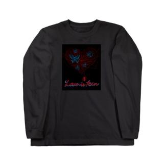 くろギャル 蜘蛛とクレオメの花 ロンT 黒 Long sleeve T-shirts