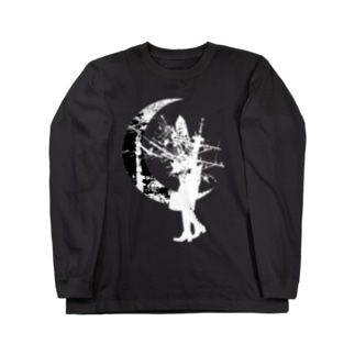 水晶頭と月White Long sleeve T-shirts
