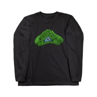 パッチリオメメ Long sleeve T-shirts