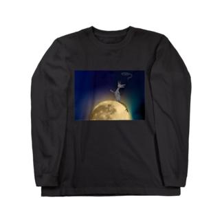 「夜潤」 スモーキー君  Long sleeve T-shirts
