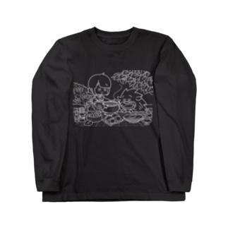 「ふゆゆんとぼさいのの食卓」 Long sleeve T-shirts