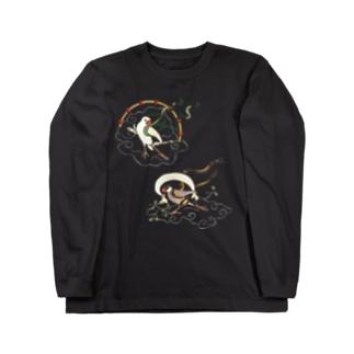 文鳥風神雷神 Long sleeve T-shirts