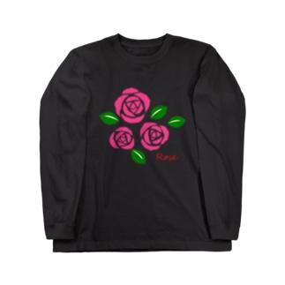 ピンクの薔薇 花言葉は感銘・上品・おしとやか Long sleeve T-shirts