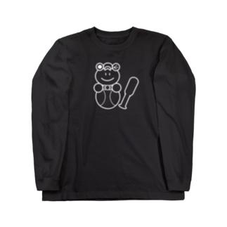 野球×かえるさん(白黒) Long sleeve T-shirts