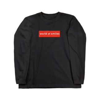 World of smiles 赤ロゴ Long sleeve T-shirts