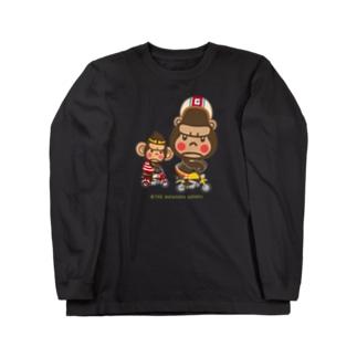 """ぽっこりゴリラ""""Motor cycle -  gorilla & monkey"""" Long sleeve T-shirts"""