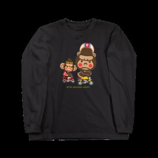 """ザ・ワタナバッフルのぽっこりゴリラ""""Motor cycle -  gorilla & monkey"""" Long sleeve T-shirts"""