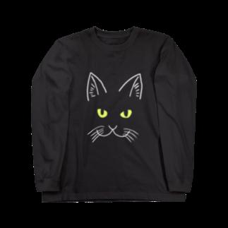 渡邊野乃香のお店の黒猫ジジ 全面 Long sleeve T-shirts