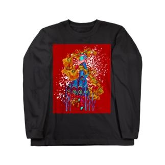 『稲と菖蒲と四十雀 Impact Ver.』 Long sleeve T-shirts