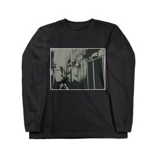寄り道への誘い【黒】(白縁) Long sleeve T-shirts