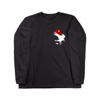 ESCHATOLOGYのレイヴン・ホワイト/赤月 Long sleeve T-shirts