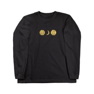 「髪で呑み込む孤月」 Long sleeve T-shirts