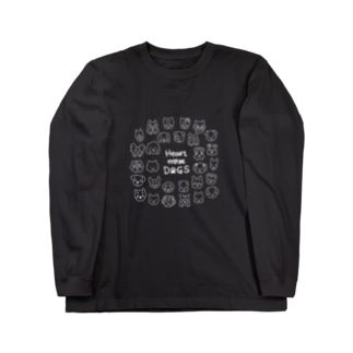 Heart nose DOGS(丸型白インク) Long sleeve T-shirts