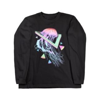 美的Vaporwaveクラゲオーシャン Long sleeve T-shirts