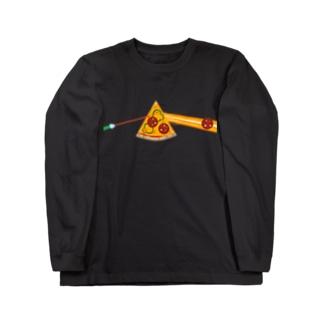 狂気とチーズほとばしるピザ Long sleeve T-shirts
