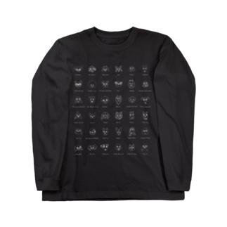 犬たち。36匹 白抜きバージョン Long sleeve T-shirts
