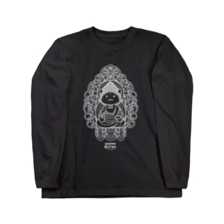 仏にゃん(白線) Long sleeve T-shirts