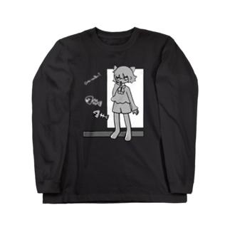 ネコとサカナ(濃い色推奨) Long sleeve T-shirts