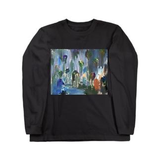 絵画 「 流れ落ちる塊 」 Long sleeve T-shirts