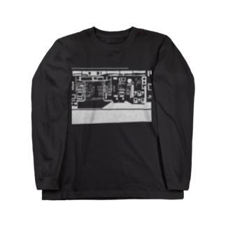 出口瀬々のコンビニ柄【白】 Long sleeve T-shirts