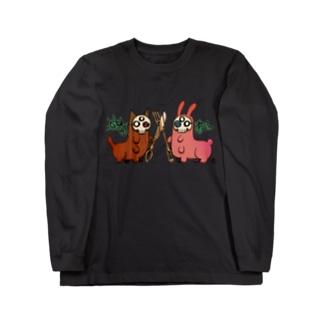 猫芋虫とうさぎ芋虫 Long sleeve T-shirts