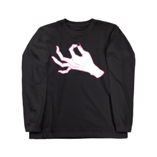 ZIP_ピンク線爪透過 Long sleeve T-shirts