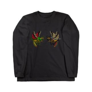 昆虫イラストシリーズ・バッタ印 Long sleeve T-shirts